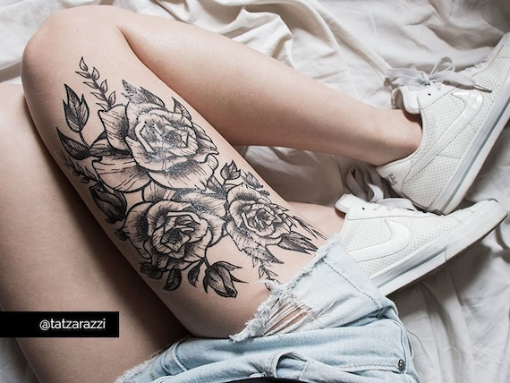 Roses Floral Huge Temporary Tattoo Flowers Bouquet Black And Etsy