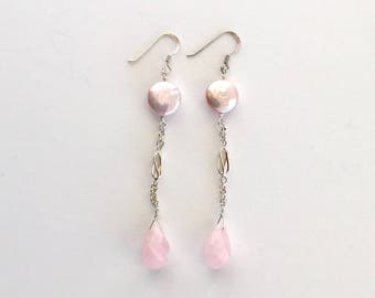 Pink Pearl Rose Quartz Drop Earrings
