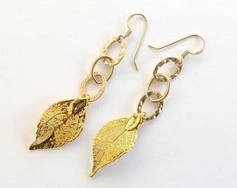 14k Gold Leaf Earring Drops
