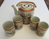 Vintage Porcelain Satsuma Roasting Peacocks and Flowers Tea set - 5 pieces