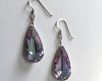 Lavender Swarovski Crystal Drops Sterling Silver Earrings