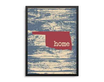 Oklahoma Home State Poster - Sooner State Rustic Map Art