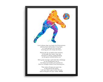 Christian Athlete Volleyball Prayer Poster