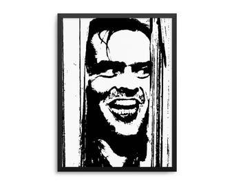 "The Shining Movie Poster - Jack Nicholson ""Here's Johnny"" Horror Movie Wall Art"