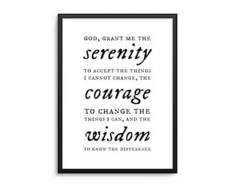 Serenity Prayer Poster - Christian Prayer Wall Decor