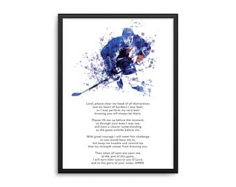 Christian Athlete Hockey Prayer Poster