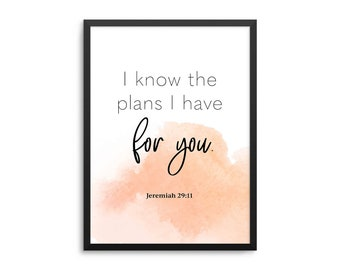 I Know The Plans I Have For You Poster - Jeremiah 29:11 Bible Verse Nursery Art