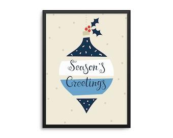Seasons Greetings Holiday Ornament Christmas Poster