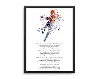 Christian Athlete Soccer Prayer Poster