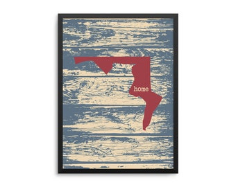 Maryland Home State Map Poster - Old Line State Rustic Art