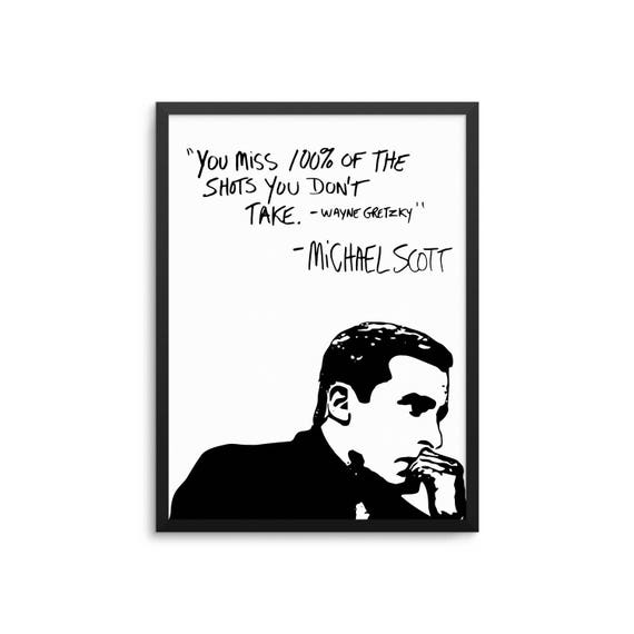 Michael Scott Wayne Gretzky Quote Poster The Office TV Show Etsy Extraordinary Michael Scott Wayne Gretzky Quote
