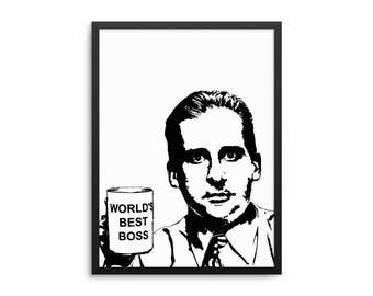 Michael Scott World's Best Boss Poster - The Office TV Show Wall Art