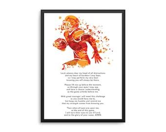 Christian Athlete Football Prayer Poster