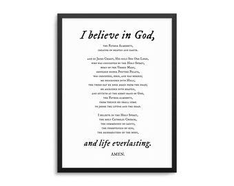 Apostles Creed Prayer Poster - Christian Prayer Art