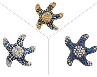 Starfish CZ Pave Bead, Clear/Royal blue CZ Cubic Zirconia Pave Bead, Starfish Necklace/Bracelet, 1 Piece, 18x17x6mm, CB1L2