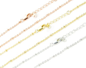 Finished Satellite Chain, 18K Gold/ Sterling Silver/ Rose Gold Plated Brass Chain, 16/18 Inch Soldered Chain, Oval Wire Chain, CB178
