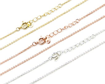Finished Cable Chain, 18K Gold/ Sterling Silver/ Rose Gold Plated Brass Chain, 16/18 Inch Soldered Chain, Oval Wire Chain, CB179