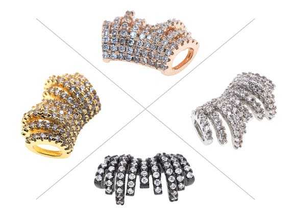 5x Connector with Clear Crystal Rhinestone 20x8mm  2 Holes BRACELET Making