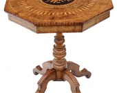 Victorian satinwood walnut marquetry tilt top tea table