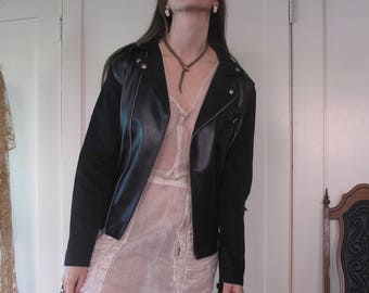Faux Leather and Suede Vegan Motorcycle Jacket