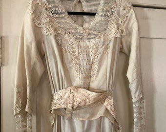 1910's Edwardian Beaded Lace Wedding Dress sz Med