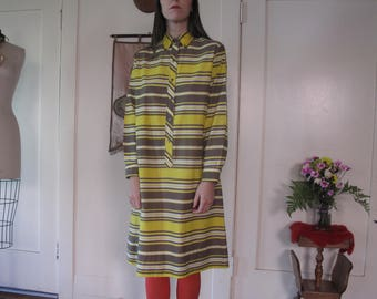 60's Lightweight Cotton Striped Shirt Dress sz Med
