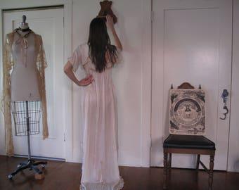 SOLD Edwardian Silk Bridal Dress w/ Train sz Sm