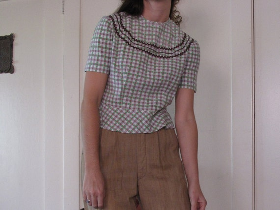 1940's Checkered Blouse w/ Buttons sz Sm