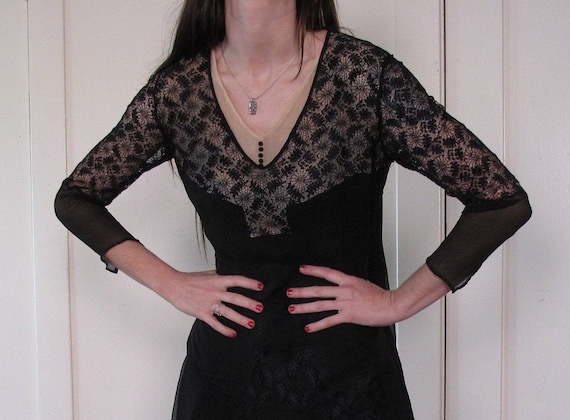 1920's Spider Web Lace Silk Chiffon Dress sz Sm