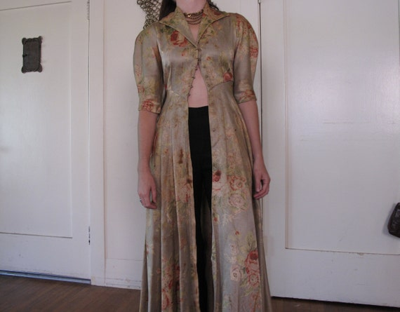 1930's 40's Rose Floor Length Duster As-IS sz Sm - image 4