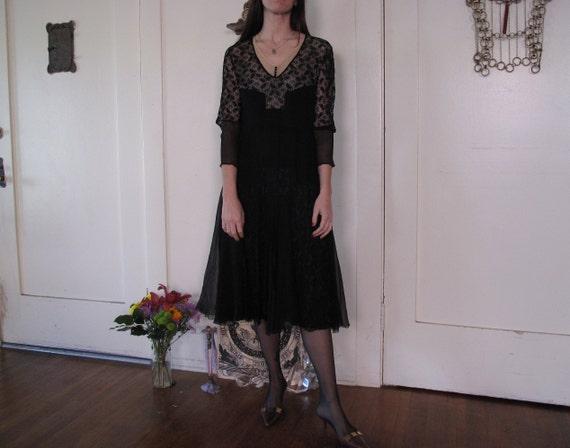 1920's Spider Web Lace Silk Chiffon Dress sz Sm - image 3