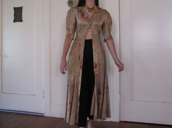 1930's 40's Rose Floor Length Duster As-IS sz Sm - image 6