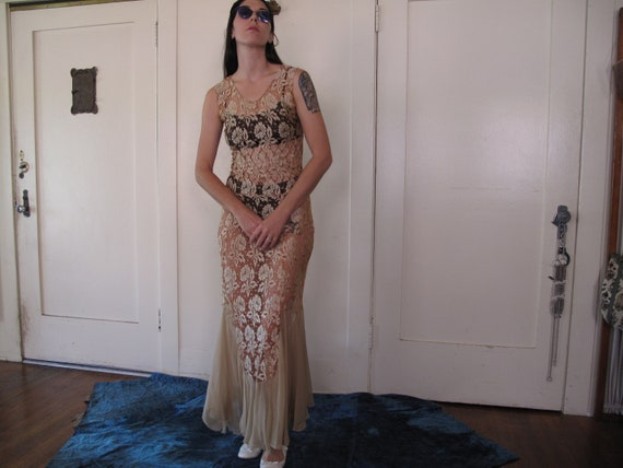 As-Is 1930's Spider Web Lace Dress sz Sm