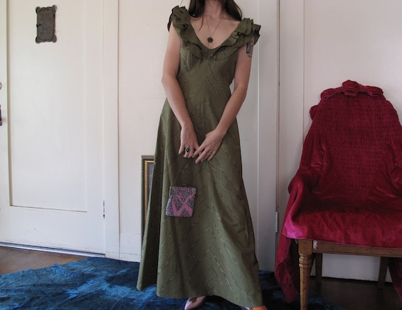 1930's Forest Green Gown sz Med