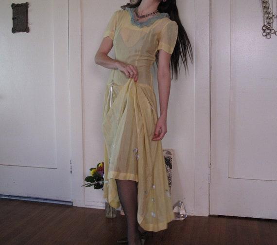 1930's Sheer Yellow Dress w/ Ribbons sz Sm