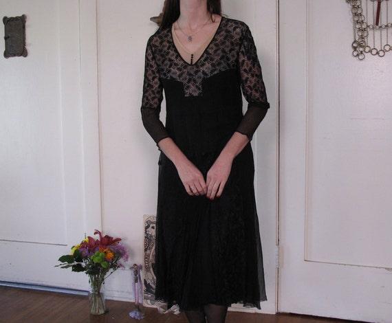 1920's Spider Web Lace Silk Chiffon Dress sz Sm - image 4