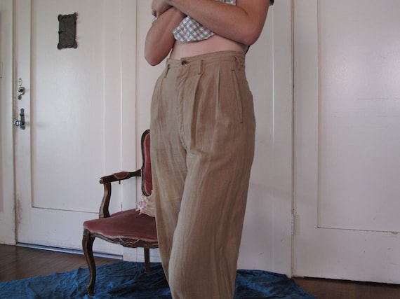 1930's As-Is Faded Pinstripe Trousers sz Sm