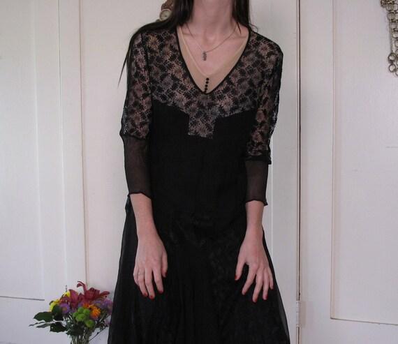 1920's Spider Web Lace Silk Chiffon Dress sz Sm - image 2
