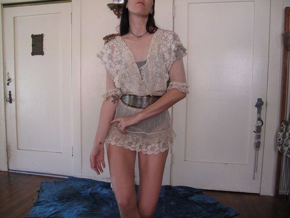 1910's Spiderweb Lace Antique Blouse Tunic Mini Dr