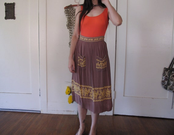 1940's Gabardine Embroidered Skirt sz Med