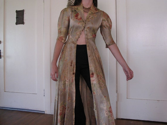 1930's 40's Rose Floor Length Duster As-IS sz Sm