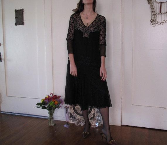 1920's Spider Web Lace Silk Chiffon Dress sz Sm - image 5