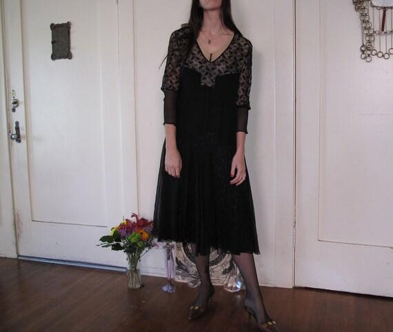 1920's Spider Web Lace Silk Chiffon Dress sz Sm - image 7