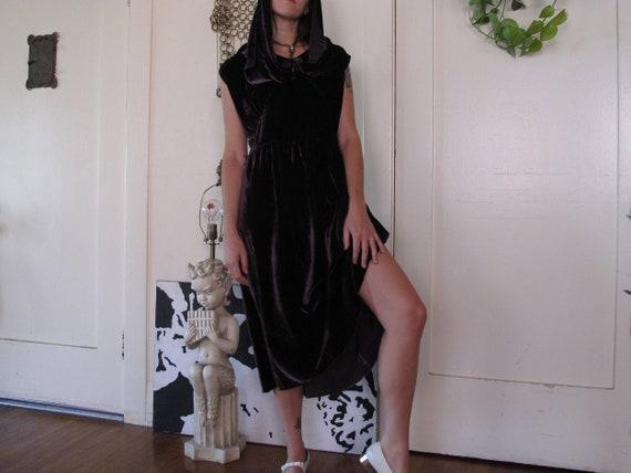 1930's Purple Silk Velvet Hooded Dress sz Med/Lrg