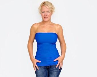 3816d82f38 Blue Tube Top   Bandeau Top   Strapless Shirt   Sexy Summer Top   Blue Crop  Top   Yoga Shirt   Sexy Top   Blue Bandeau Top   Slim Fit Top