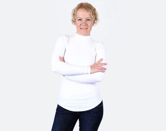 9d02f2456bb White Turtleneck / White Shirt / Mock Neck Sweater / White Top / White  Sweatshirt / Mock Neck Top / White Sweater / Mock Turtleneck