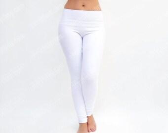 White Leggings, White Yoga Pants, Workout Tights, Yoga Clothes, High Waisted Legging, White Dance Pants, Extra Long Leggings