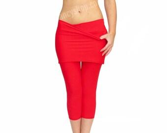 Skirted Yoga Pants, Skirted Leggings, Red Yoga Tights, Leggings with Skirt, Red yoga skirt, Comfy Yoga Pants, Crop Leggings