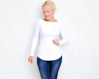 White Blouse, Boat Neck Shirt, Work Blouse, Streetwear, Long White Top, Tshirt Women, Long Sleeve Top, Ladies Tees, Minimalist Fashion