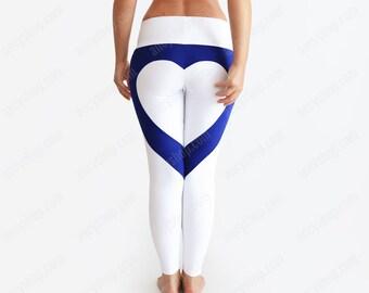 4bf6efef5de8f Heart Leggings / Heart Shape Pants / White Leggings / Sexy Leggings / White Yoga  Pants / Heart Booty Pants / Designer Leggings